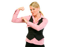 Cheerful modern business woman showing her muscles Royalty Free Stock Image