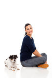 Woman sitting dog Royalty Free Stock Photography