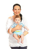 Cheerful mom and baby son Stock Photos