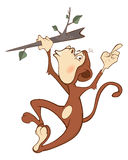 Cheerful monkey. Cartoon Royalty Free Stock Photography