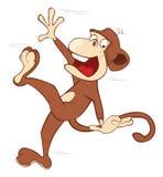 Cheerful monkey. Cartoon Royalty Free Stock Photo