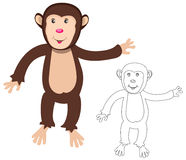 Cheerful monkey. Cartoon Royalty Free Stock Photo
