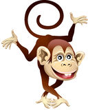 Cheerful monkey. Funny illustration with dancing cheerful monkey drawn in cartoon style Stock Photo