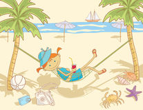 Cheerful mood. Vector image of the happy little girl on the beach resting royalty free illustration
