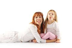 Cheerful mother and daughter royalty free stock photos