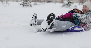 Cheerful mother pulling a sled with her ecstatic kids. stock footage