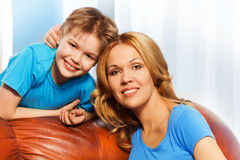 Cheerful mother and son together at home Royalty Free Stock Photography
