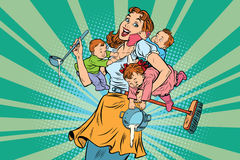 Cheerful mother with three children Stock Images