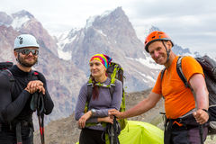 Cheerful mountain climbers portrait Royalty Free Stock Photography