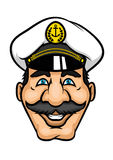 Cheerful moustached captain character in cap Royalty Free Stock Image