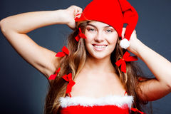 Cheerful mrs. Santa Stock Images