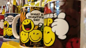 Cheerful Mugs. From the local gift shop Royalty Free Stock Photos