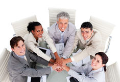 Cheerful multi-ethnic business team in a meeting royalty free stock images