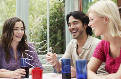 Cheerful Multiethnic Friends At Verandah Table Stock Image
