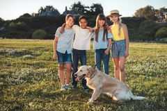 Teenagers with dog in park Stock Photography