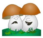Cheerful mushroom, sad mushroom. Vector drawing: Cheerful mushroom, sad mushroom Stock Photo