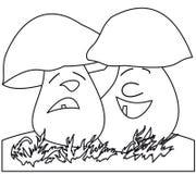 Cheerful mushroom, sad mushroom. Mushrooms: a cheerful and sad, one-colour , a comic picture Stock Photos