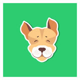 Cheerful Muzzle of Jack Russell Terrier Flat Icon. On green background. Vector illustration of movable hunting breed of dogs, small sizes. Cartoon style canine stock illustration