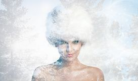 Cheerful woman with winter hat stock image