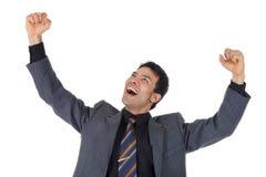 Cheerful nepalese businessman, winner Royalty Free Stock Photos