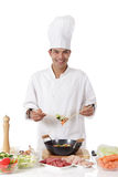 Cheerful nepalese man chef, fresh ingredients Royalty Free Stock Image