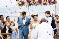 Cheerful newlyweds at beach wedding ceremony royalty free stock photography