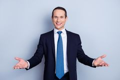 Cheerful, Nice Man In Formal Wear With Tie Having His Hands Open Royalty Free Stock Photos
