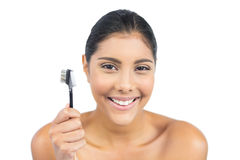 Cheerful nude brunette holding eyebrow brush Stock Images