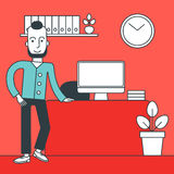 Cheerful office clerk. Royalty Free Stock Image