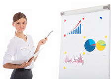 Cheerful office lady at a presentation Stock Image