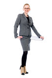 Cheerful office woman in glasses. Stock Photo