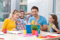 Cheerful office workers are making a break royalty free stock photos