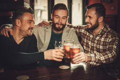 Cheerful old friends having fun and drinking draft beer in pub. Royalty Free Stock Images