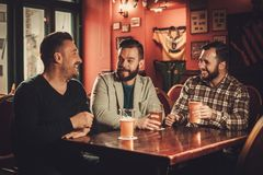 Cheerful old friends having fun and drinking draft beer in pub. stock photos