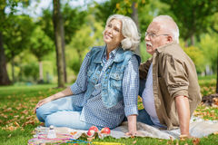 Cheerful old husband and wife resting in park stock photos