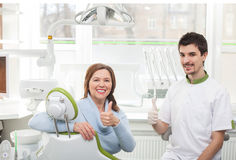 Cheerful old lady is visiting the orthodontist Stock Image