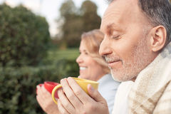 Cheerful Old Loving Couple Is Drinking Tea Royalty Free Stock Photos