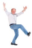 Cheerful old man having a great time Royalty Free Stock Image