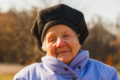 Cheerful old woman. Photo took in Moscow, Russian Stock Image