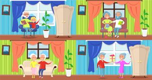 Cheerful Older People Collection of Illustrations Royalty Free Stock Images