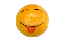 Cheerful orange. Shows the tongue Stock Image