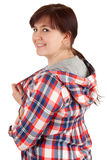 Cheerful overweight teenage girl in casual shirt Royalty Free Stock Image