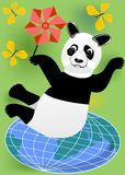 Cheerful panda with vane practicing pilates on the globe royalty free stock photography