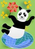 Cheerful panda with vane practicing pilates on the globe. Cheerful panda with yellow butterflies and red vane practicing pilates on the globe Royalty Free Stock Photography