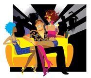 Cheerful party. Vector illustration of a young people on a club party Stock Photos