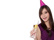 Cheerful party girl, on white with copyspace Royalty Free Stock Photos