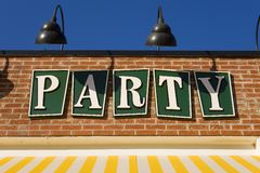 A cheerful party sign Stock Photography