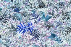 Bright tropical leaf pattern in blues Royalty Free Stock Photos