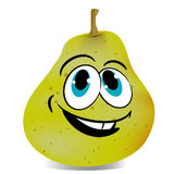Cheerful pear, cartoon on white background. Vector Royalty Free Stock Photo