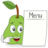 Cheerful Pear Character with Blank Menu Royalty Free Stock Photography